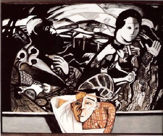 黃楫 在黑白畫像前的男人 油彩 1995-96 162x120cm