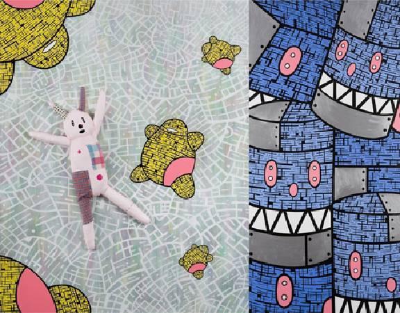生命不可承受的重 162x210 cm 2010壓克力 墨水筆 手工娃娃 畫布