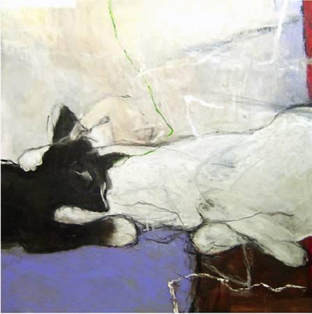 黑白雙貓-1  2006 油畫 100*100cm