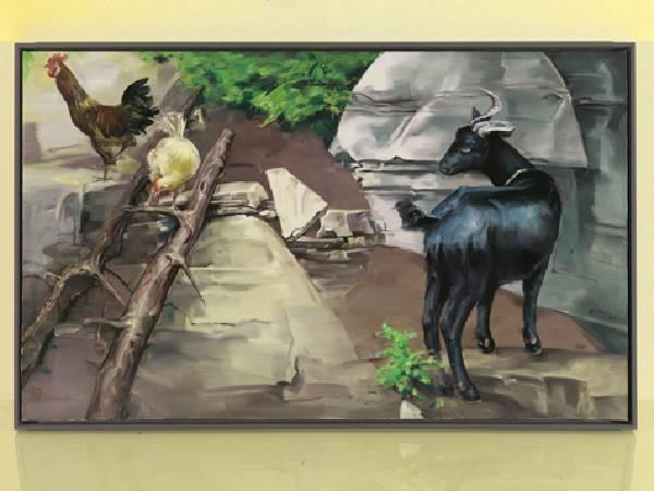 武俊-坡下的黑羊與兩隻雞-油彩/畫布-110 x 180cm 2011