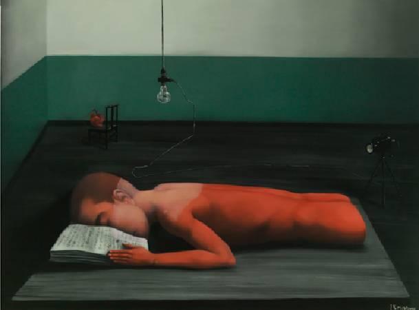 張曉剛-綠牆  閱讀者-油彩/畫布-150 x 200cm 2008
