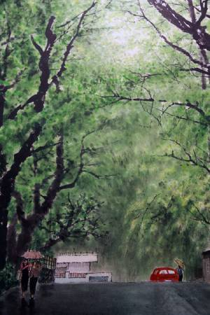 黃永川《陽明山新雨》局部。圖/非池中藝術網攝。