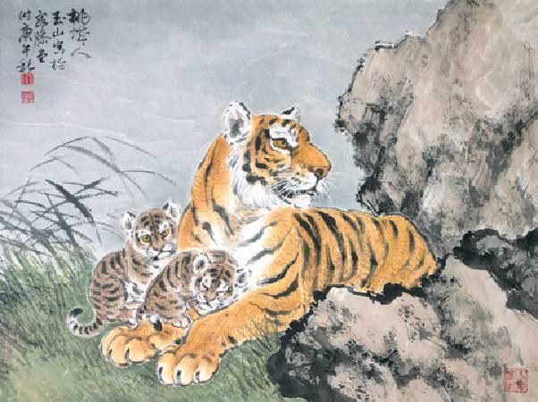 林玉山-母子情深--51x67.5cm-水墨紙本、鏡框-1990