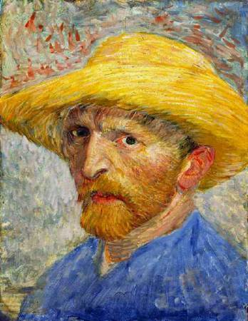 Van Gogh,〈Self Portrait with Straw Hat〉。