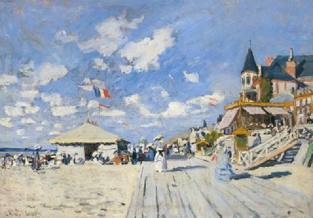 莫內,〈Sur les planches de Trouville〉。圖/取自網路。