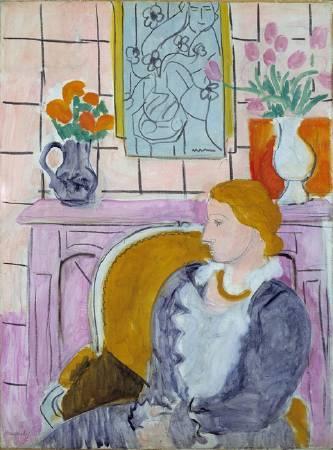 馬蒂斯,〈壁爐前的藍衣女子〉。