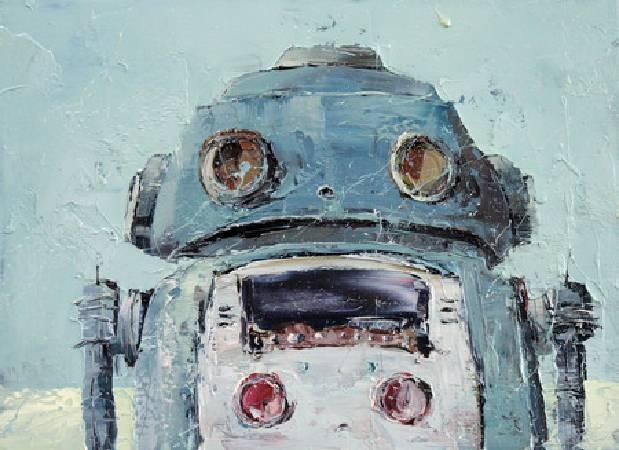 《立正!! 鐵皮機器人》,油彩、畫布 2011。