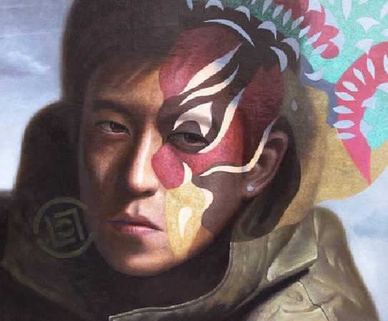 《丑旦與雷公系列-記得我嗎?》,油彩、碳酸鈣、畫布 2011。