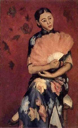 楊三郎,《持扇婦人像》,1934。
