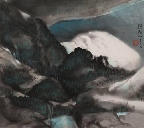 劉國松,《深塘清流 (36.7 X 41 cm) 》。
