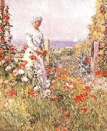 哈薩姆《雨西莉亞·撒克斯特在花園中》(Celia Thaxter in her Garden),1892。