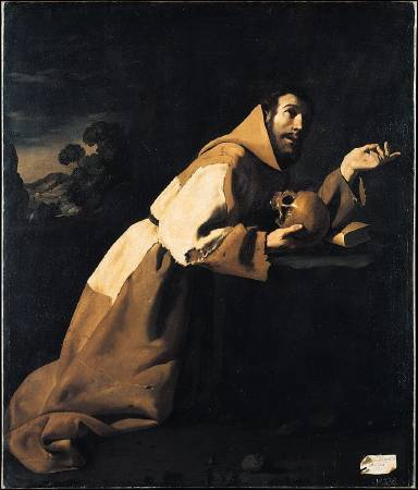 Francisco Zurbarán, Saint Francis in Meditation。圖/取自Wikipedia。