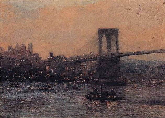 《夜晚的布魯克林橋》(Brooklyn Bridge at Night), 1909