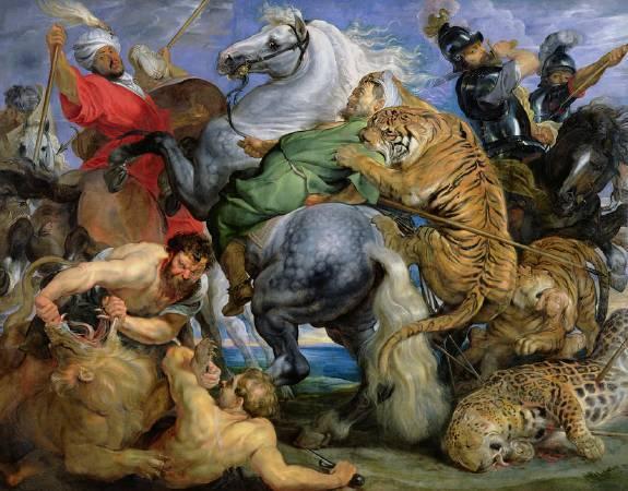 魯本斯《老虎、獅子與美洲豹的獵捕》。圖/取自Fine Art America。