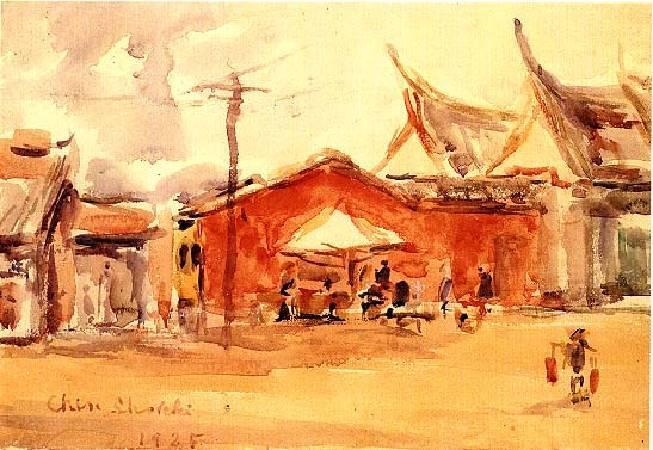 陳植棋《廟口》,1925。圖/取自視覺素養學習網。