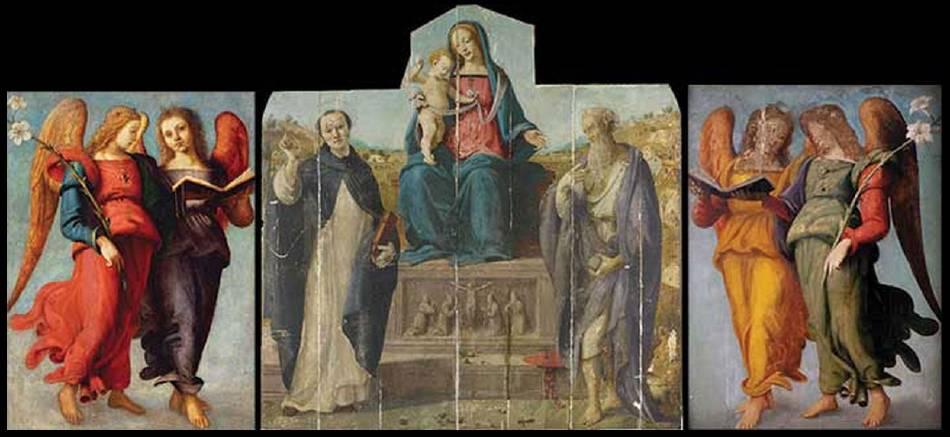 國家藝廊重現《聖母子、聖味增爵斐勒略以及聖傑羅姆》原貌。圖/取自The Art Newspaper。