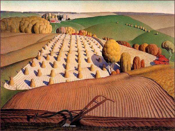 伍德《秋犁》(Fall Plowing),1931。圖/取自維基百科。