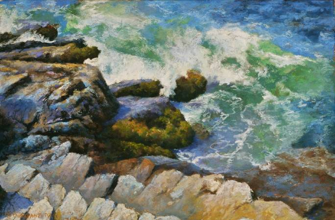 Jeff Fioravanti,《August Surf, Acadia Maine, Acadia National Park》。 圖/取自PAINTING THE SOUL OF AMERICA。