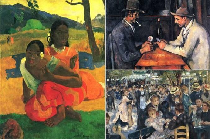 最貴的三幅印象派畫作,分別為高更《妳何時嫁人》、塞尚《玩紙牌的人》、雷諾瓦《煎餅磨坊的舞會》。圖/取自Mirror。