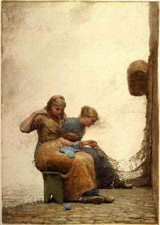 Winslow Homer,《mending the nets》,1881。圖/取自wikiart。