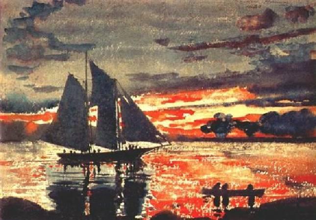 荷馬《斜陽》(Sunset Fires),1880。圖/取自wikiart。