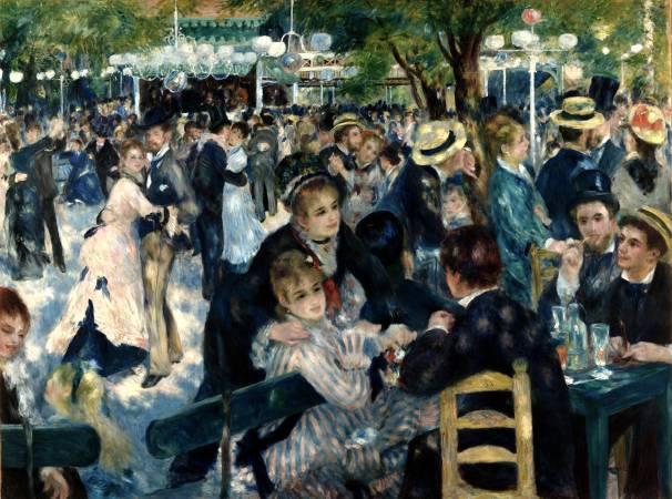 雷諾瓦,《煎餅磨坊的舞會》,1876年。圖/取自Wikipedia。