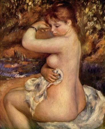 雷諾瓦,《沐浴後》,1888年。圖/取自Wikipedia。