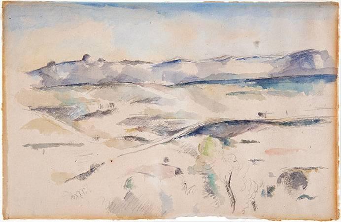 塞尚水彩畫《連綿的艾托伊爾山峰》。圖/取自Barnes Foundation。