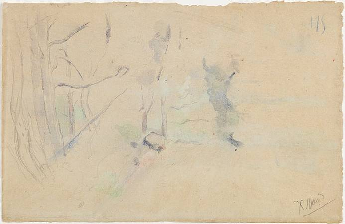 《連綿的艾托伊爾山峰》背面草圖。圖/取自Barnes Foundation。