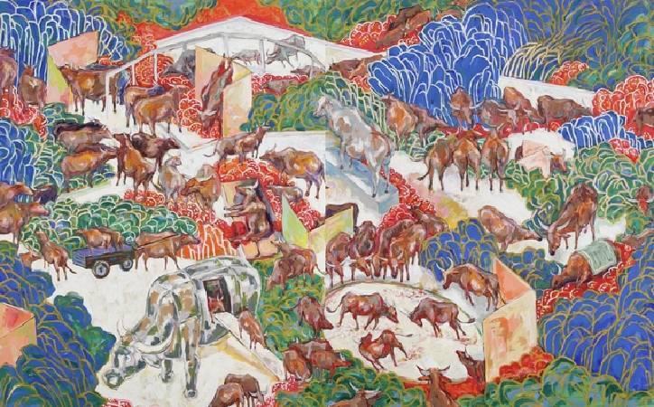 謝里法,《牛族的畫像》,圖/自台中市立港區藝術中心
