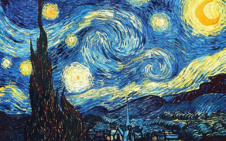 Van Gogh,《the starry night》,1889。圖/取自wikiart。