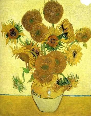 Van Gogh,《still life vase with fifteen sunflowers》,1888。圖/取自wikiart。