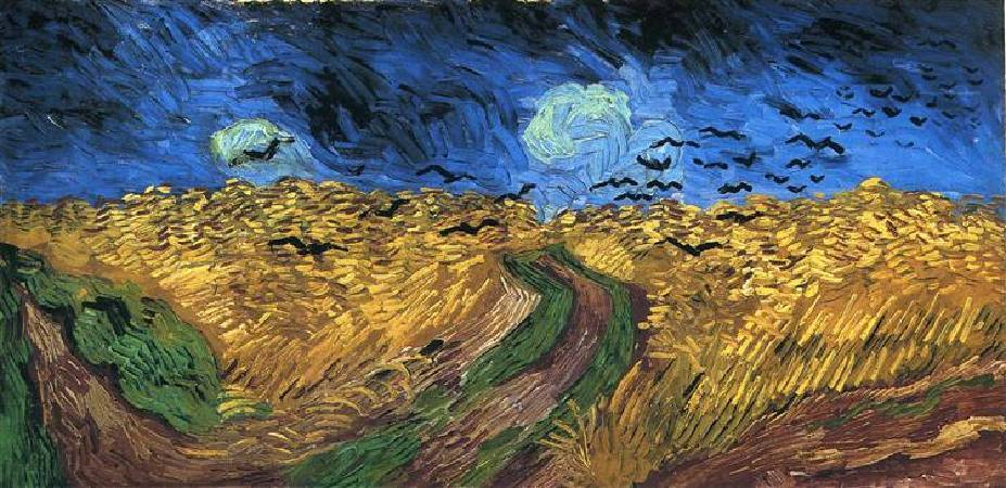 Van Gogh,《wheatfield with crows》,1890。圖取自wikiart