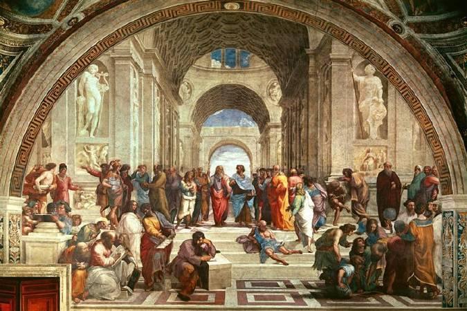 拉斐爾,《雅典學院》,圖/取自wikiart。