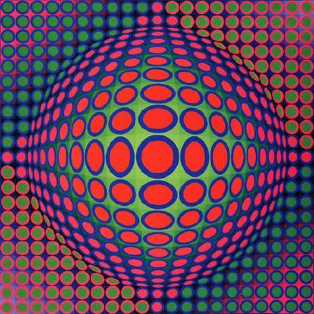 Victor Vasarely,《Vega 200》,1968。圖/取自wikiart。