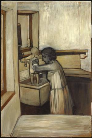 傑克.史密斯早期作品,《母親替孩子洗澡》,1953。