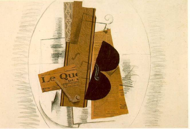 Georges Braque,《Violin and Pipe》,1913。