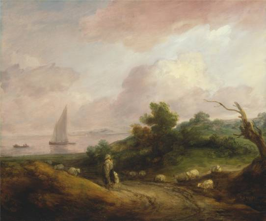 Thomas Gainsborough,《Coastal Landscape with a Shepherd and His Flock》,1783-84。