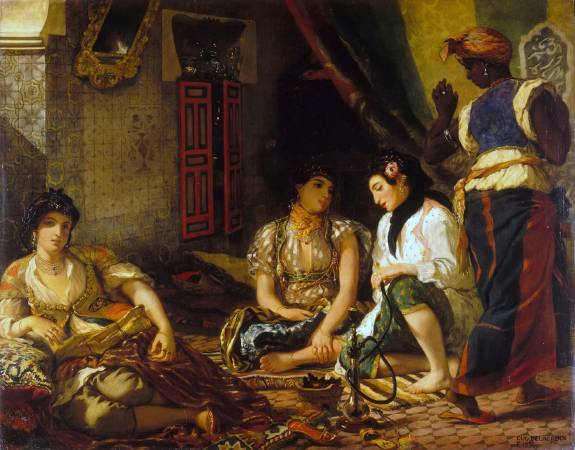 德拉克拉瓦《在住宅中的阿爾及爾女人》。圖/取自Wikipedia。