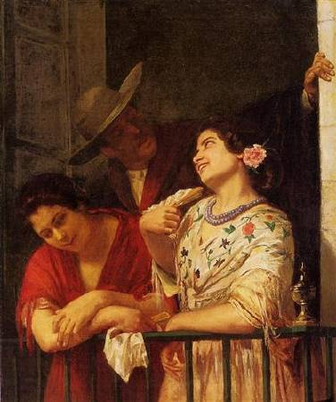 Mary Cassatt,《The Flirtation A Balcony in Seville》,1872。