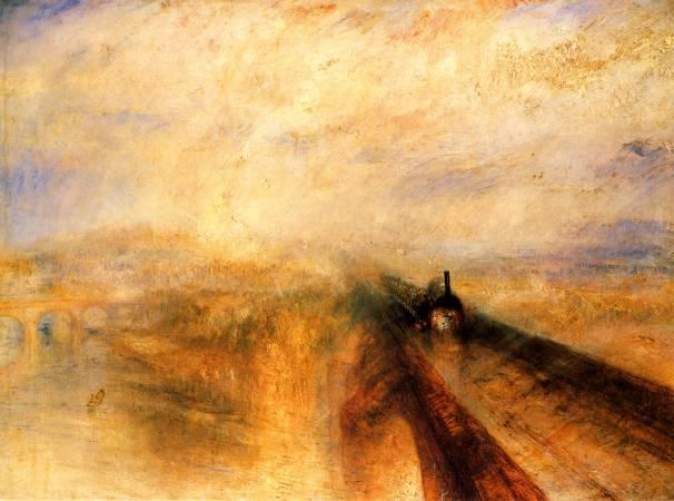 透納《雨、蒸汽和速度——開往西部的鐵路》。圖/取自Wikimedia。