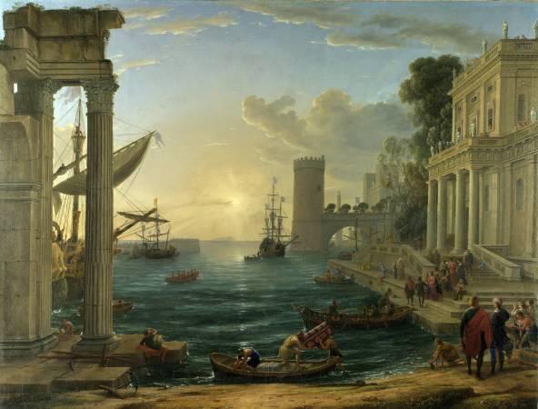 法國風景畫家洛蘭《西巴女王出訪的海港》。圖/取自Wikipedia。