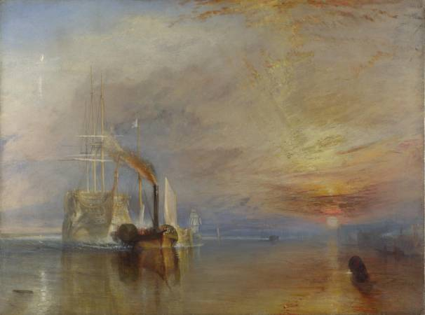 透納《被拖去解體的戰艦無畏號》,2005年被選為「英國最偉大的畫作」。圖/取自Wikipedia。