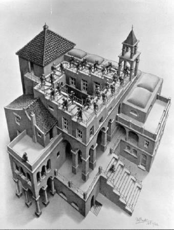 Maurits Cornelis Escher,《Ascending and Descending》,1960 ©M.C. Escher 。圖/取自wikiart