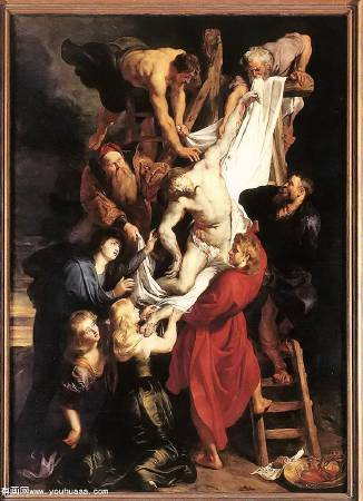 Peter Paul Rubens,《Descent from the cross》,1611-1614。 。圖/取自Wikiart。