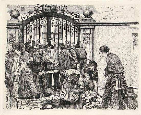 Käthe Kollwitz,《Riot》, 1897。
