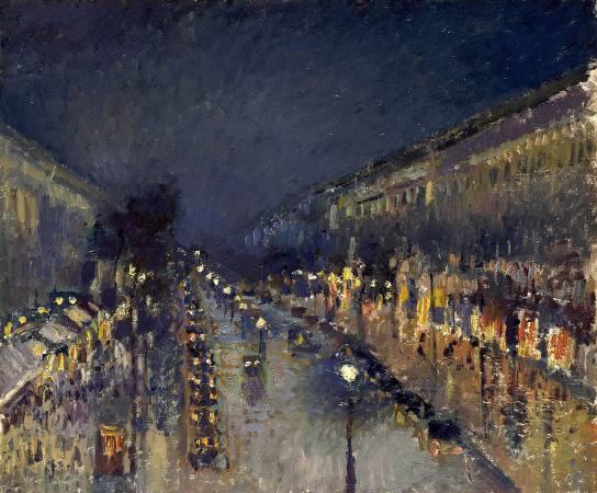 Camille Pissarro,《Boulevard Montmartre in der Nacht》,1898。