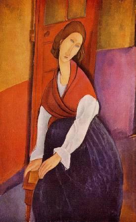 Amedeo Modigliani,《 Jeanne Hebuterne in Red Shawl》(圍紅圍巾的珍妮),1919。