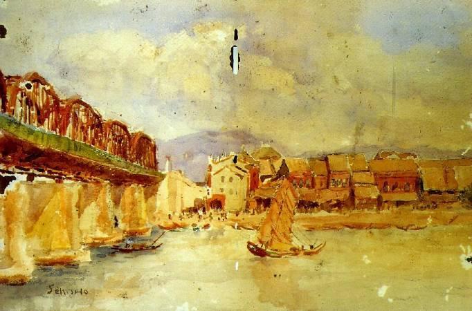 李石樵,《台北橋》,1927。