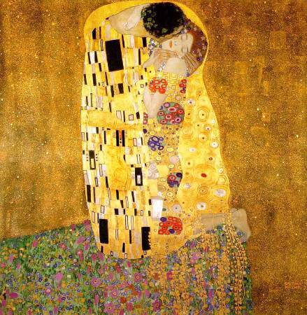 Gustav Klimt,《the kiss》(吻),1907-1908。